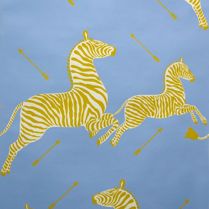 Scalamandre Zebras Wallpaper Periwinkle Blue - 2 Roll ...