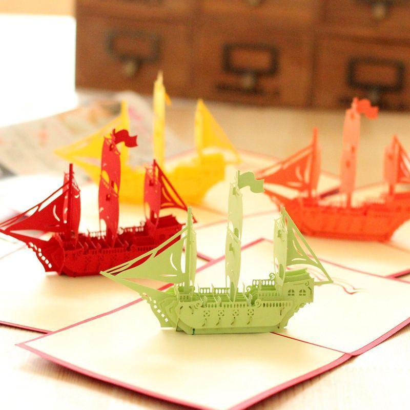 Handmade 3D Pop Up Happy New Year Plain Sailing Boat Good Luck Sailboat Card
