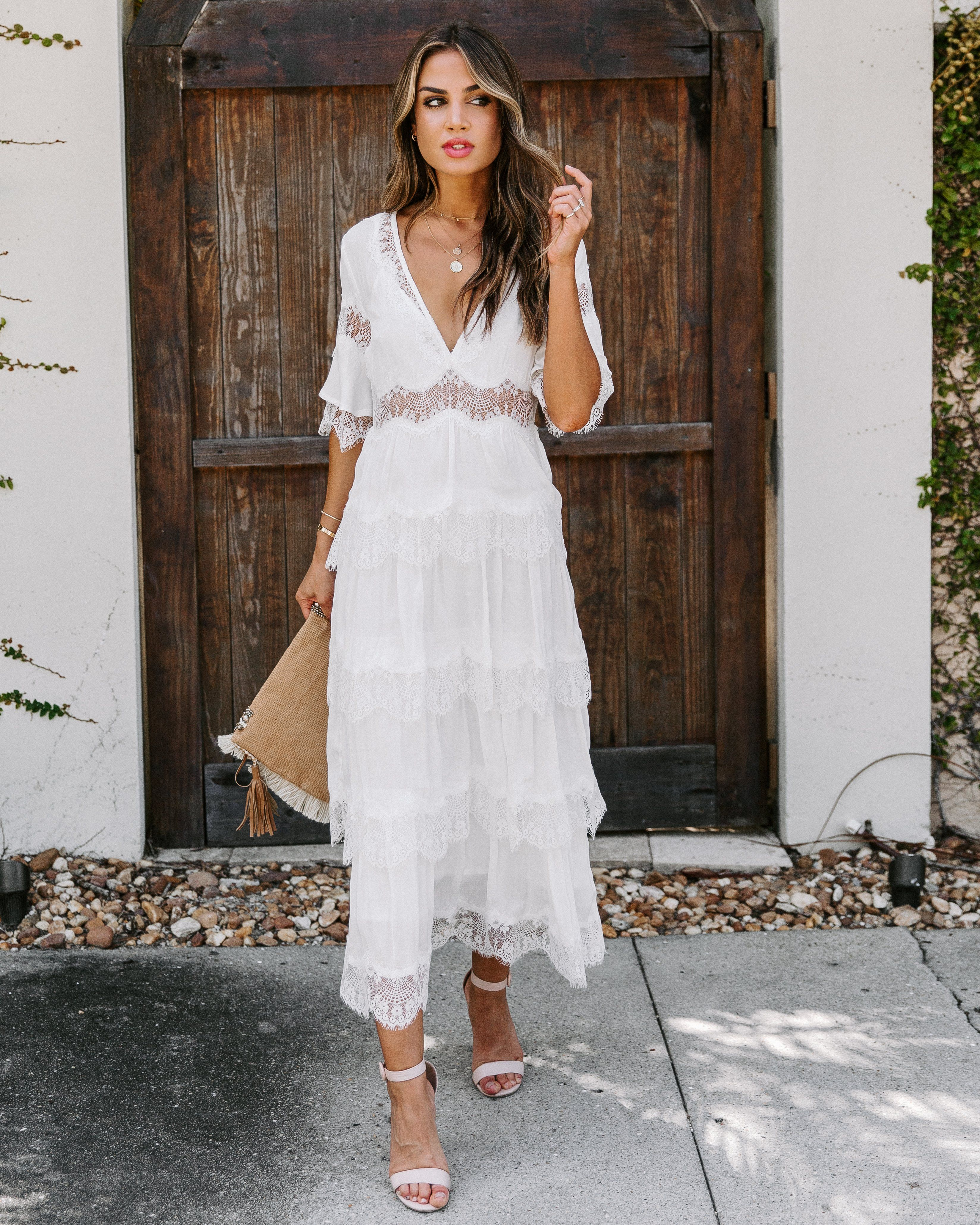 Setting Sun Lace Tiered Midi Dress White White Dress Dresses White Midi Dress [ 4120 x 3296 Pixel ]