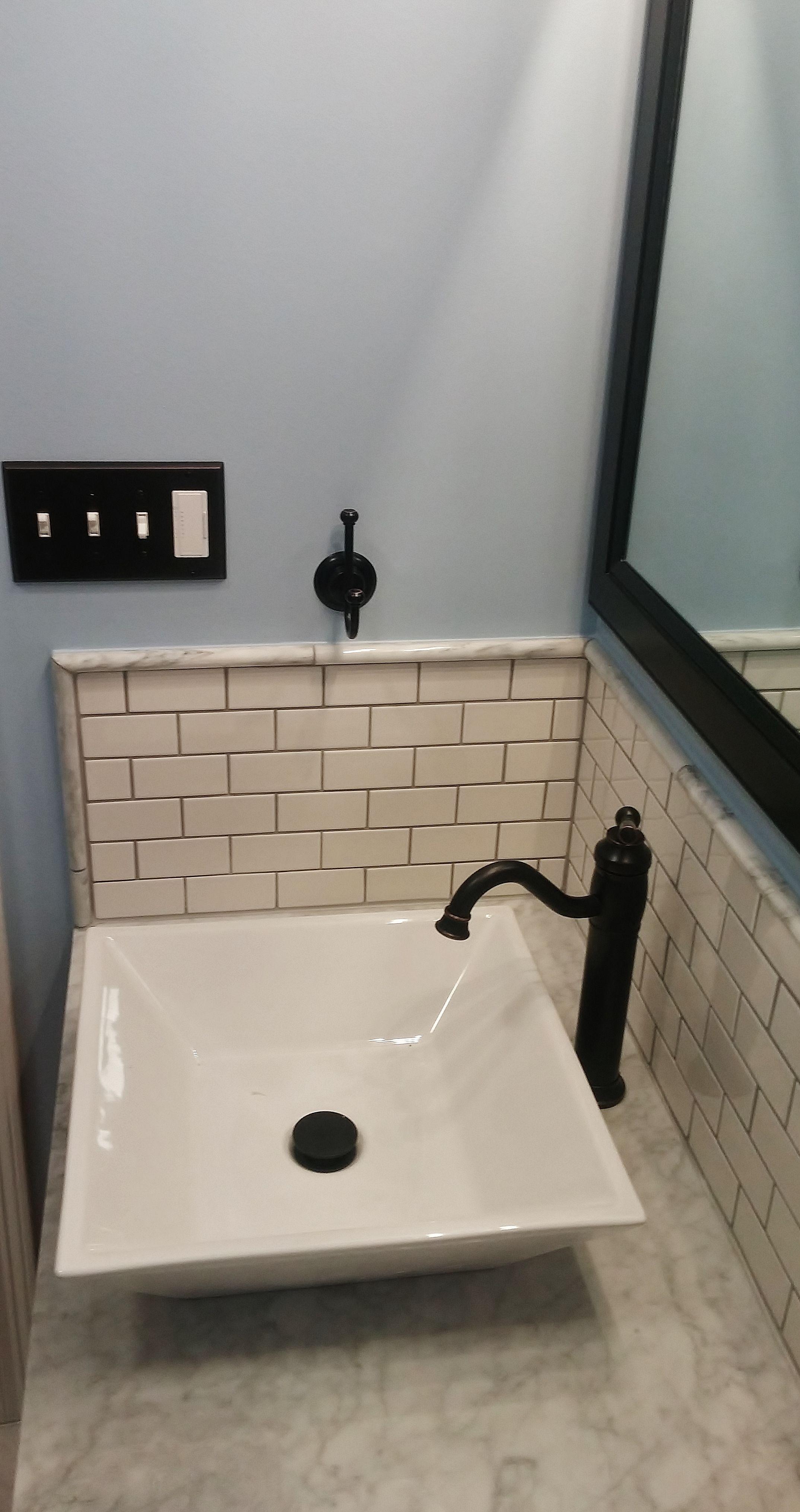 Bathroom Remodel Renovation Countermount Faucet Oilrubbed Subwaytile White