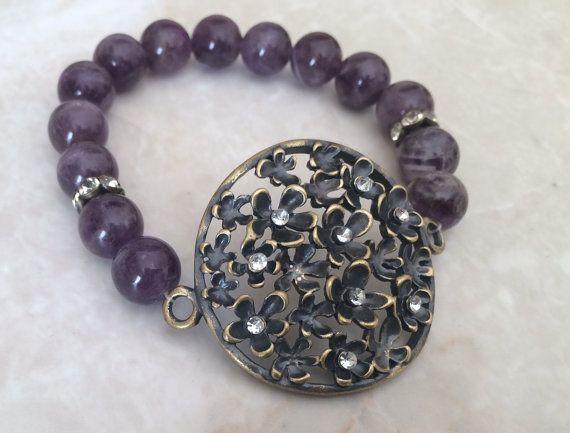 Amethyst Beaded Bracelet Copper Bracelet by RedWillowCreations