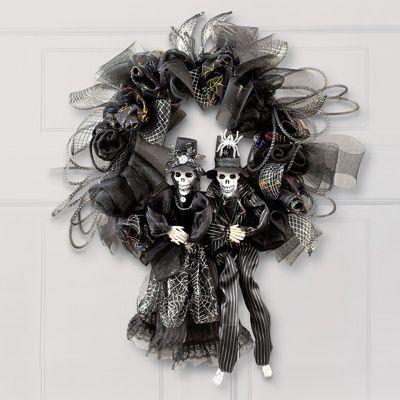 "23/""Dia Creepy Spooky Skeleton Black Wall Door Hanging Wreath Halloween Decor"