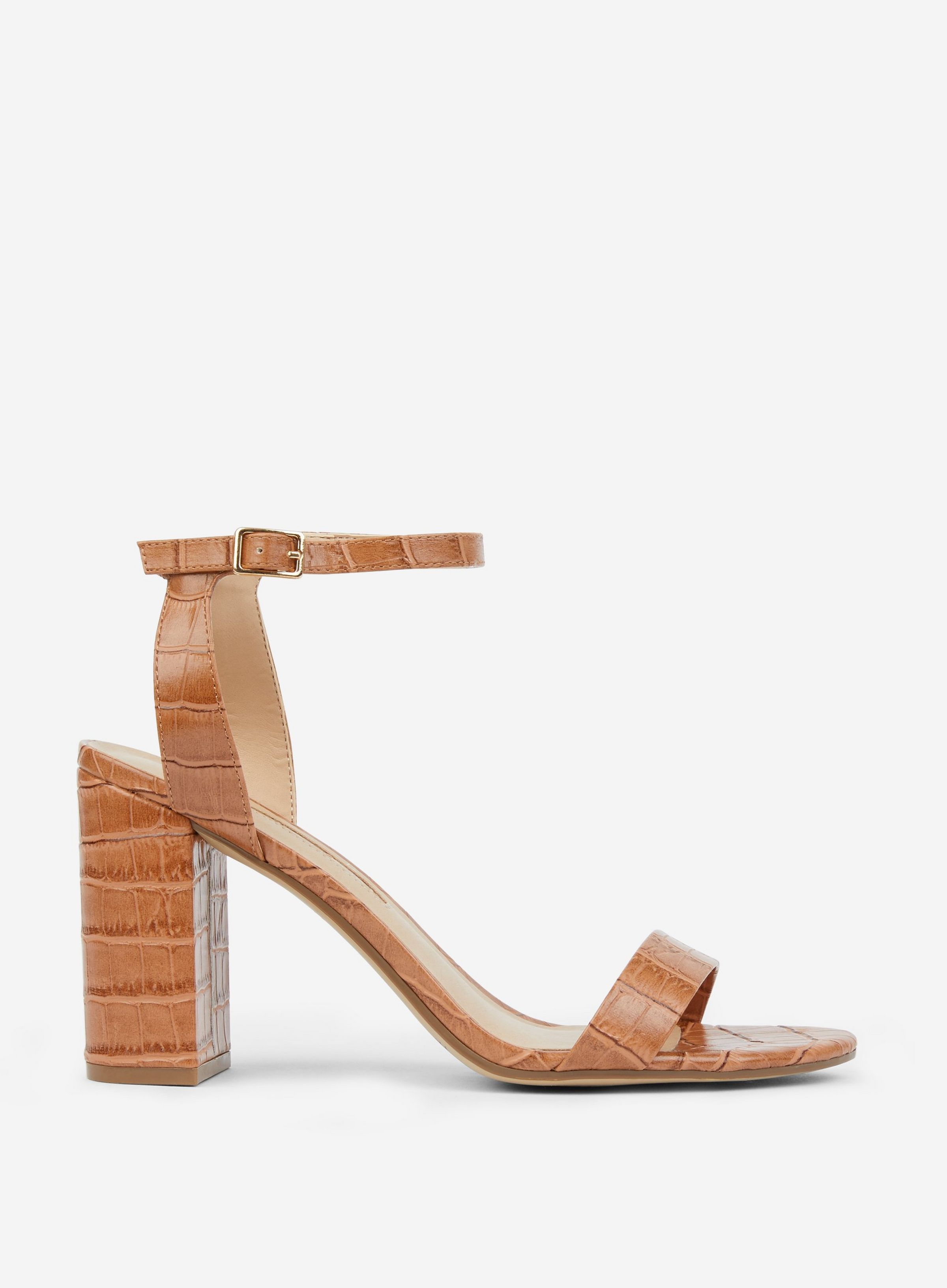 3a18aa142c Tan 'Shimmer' Block Heel Sandals in 2019 | ben | Sandals, Block ...
