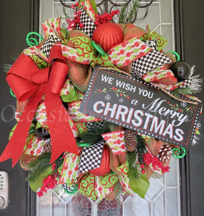Christmas Wreath, Whimsical Christmas Wreath, Holiday Wreath, Front