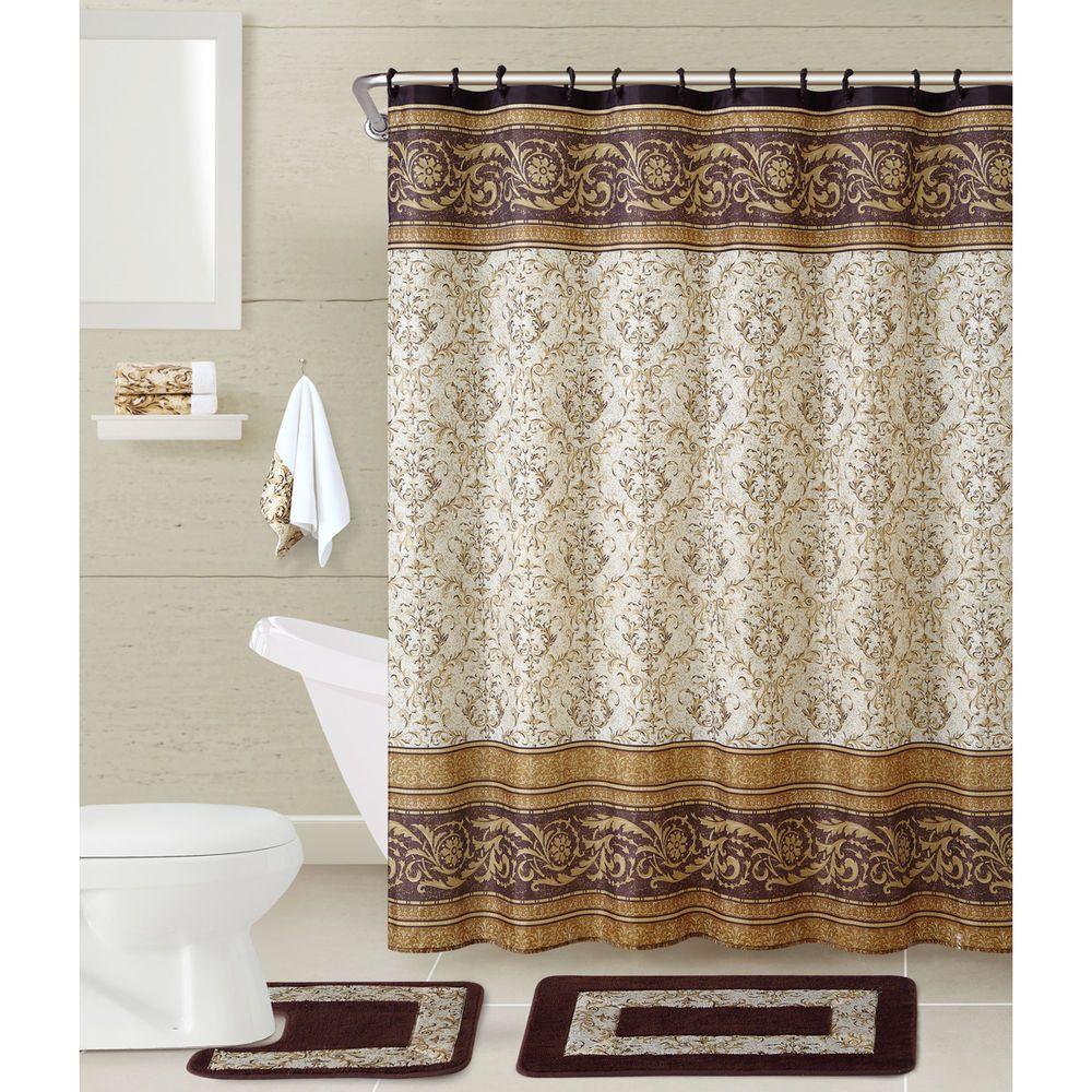 Shower Curtain Set 17 Pc Complete Bathroom Decor Rugs Hooks Towels ...