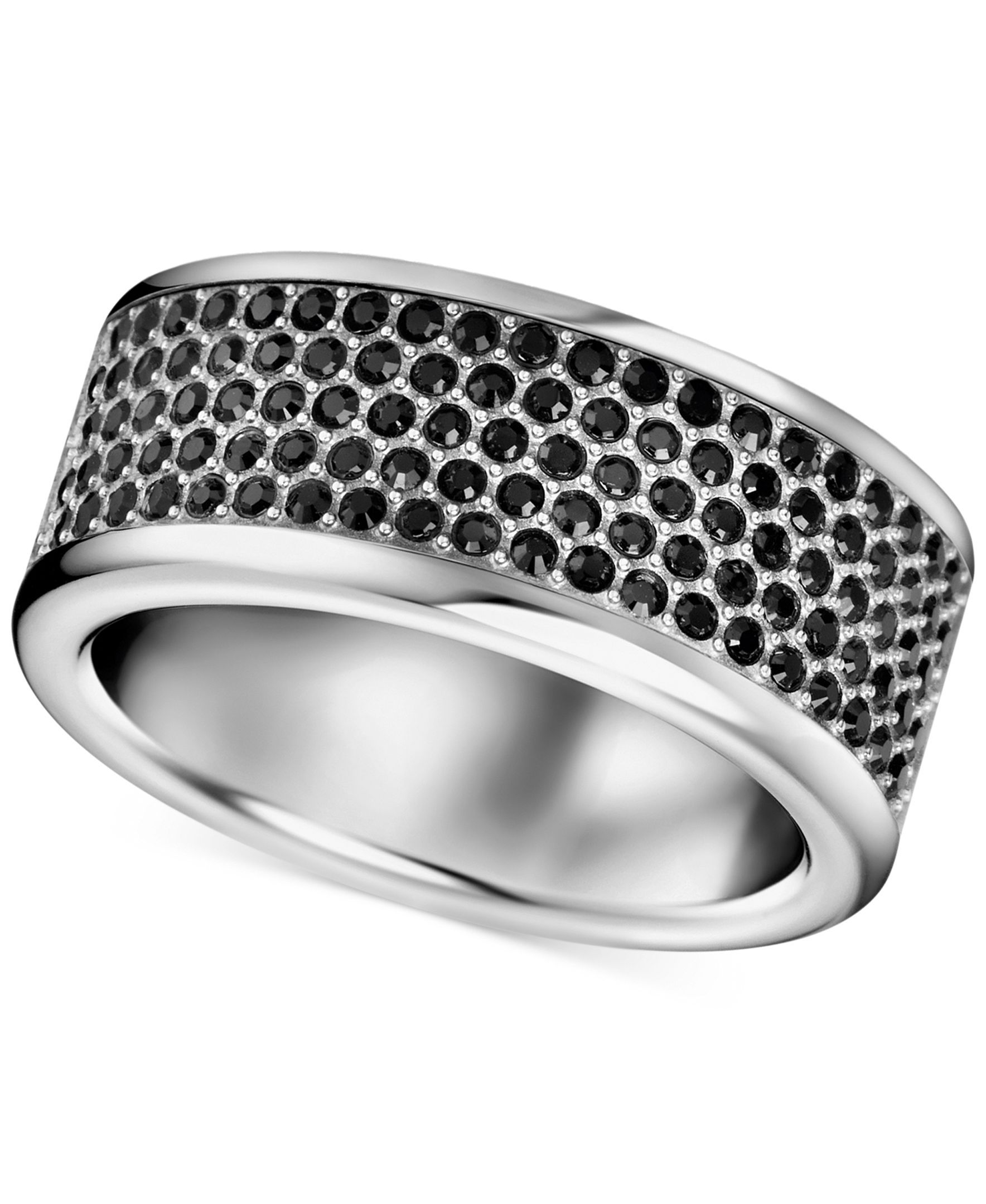 a9514a5db0c56e Calvin Klein Stainless Steel Black Swarovski Crystal Ring ...