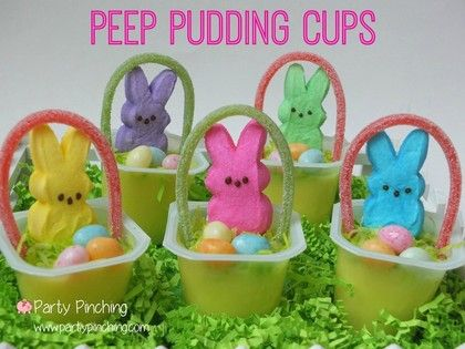Easter peeps easy easter dessert ideas easter party ideas for easter peep pudding cups bunny peeps with a basket handle made of candy add jelly beans easy dessert for kids to make for easter brunch dinner ideas negle Choice Image