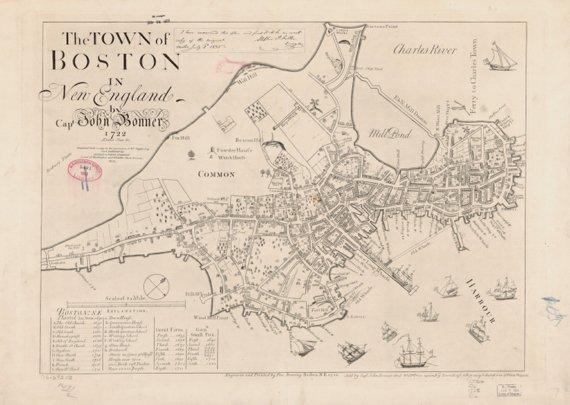 Boston Harbor Map Historical Plan 1772 Boston Map Historical Maps Old Map