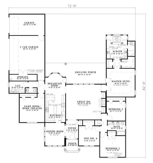House Plan 110-00542 - Traditional Plan 2,659 Square Feet, 4