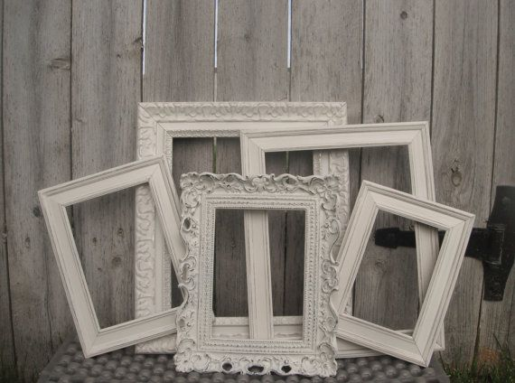 distressed vintage style picture frames ornate square set of 5 antique white