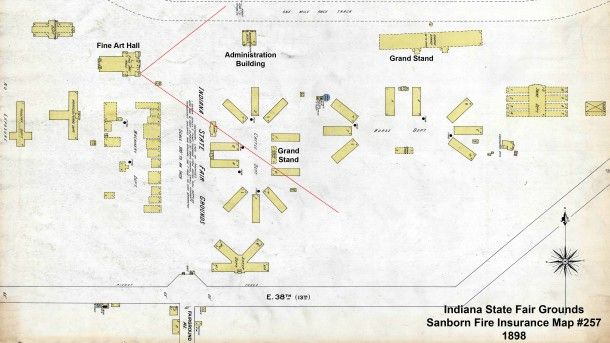 1898 Sanborn Map #257 of the Indiana State Fair Grounds ...