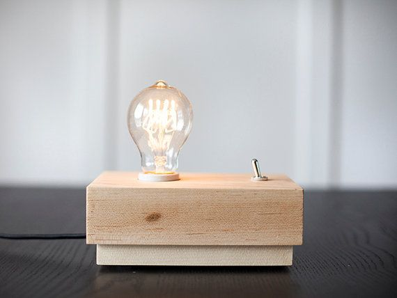 Modern desk or side table lamp with edison bulb handcrafted lamp
