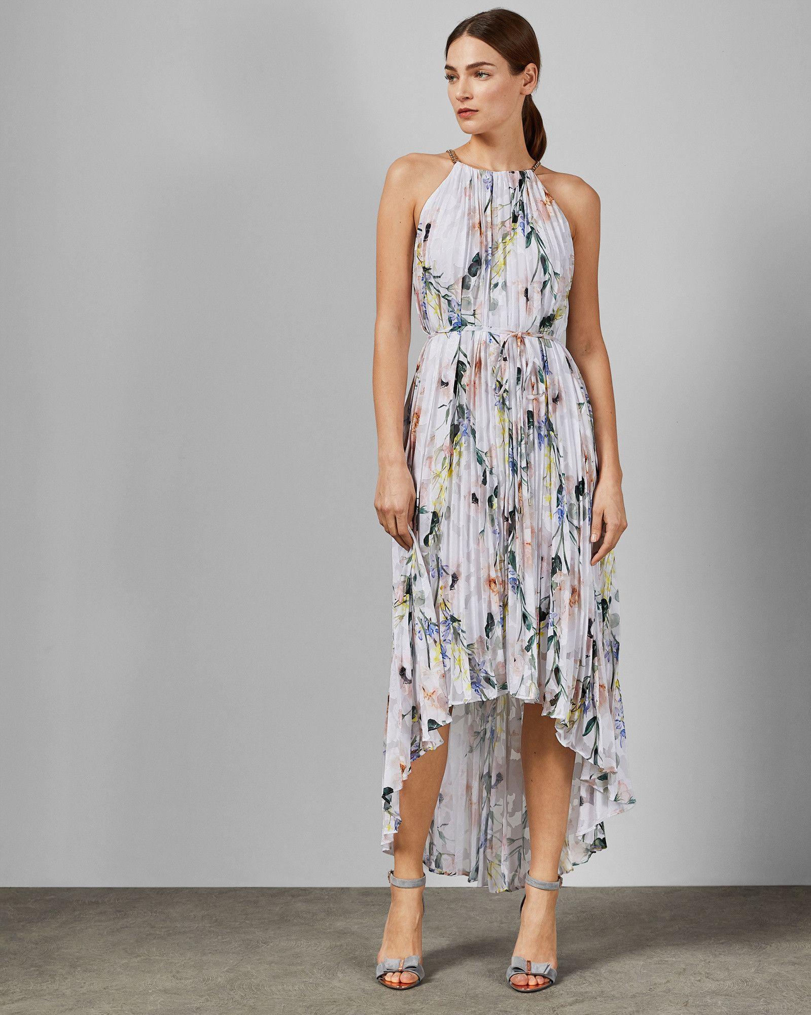 white sz 2 UK 10 nEW Ted Baker Elegance Pleat hight low maxi wedding Dress