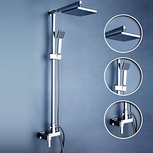 High Quality Contemporary Shower Faucet With 8 Inch Shower Head + Hand Shower    FaucetSuperDeal.com