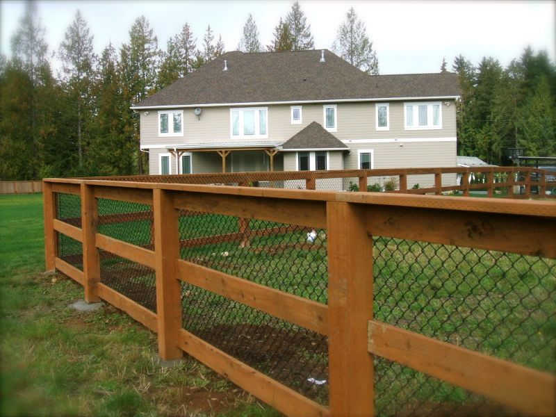 3 rail PT w/black chainlink | Projects for the House | Pinterest ...