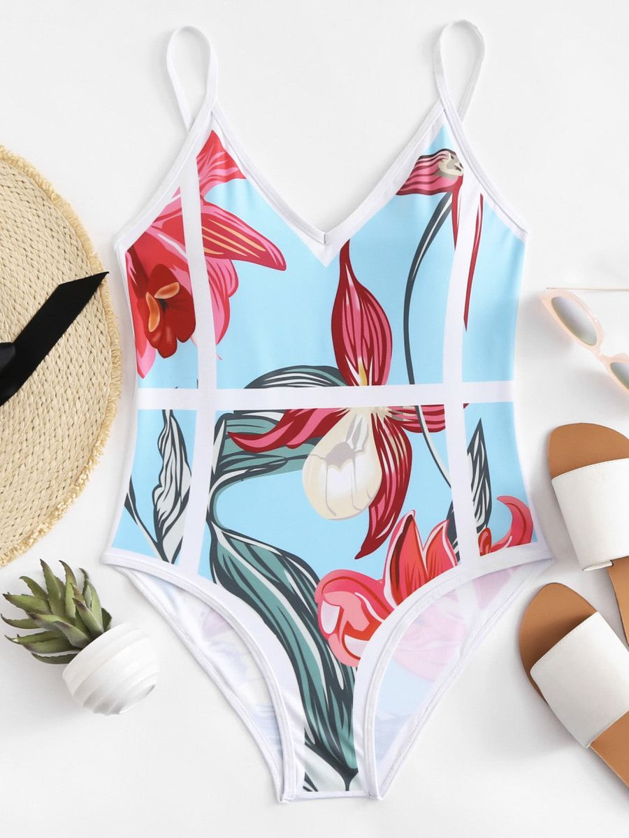 0187df8f11 Flower Print Swimsuit -SheIn(Sheinside) | - S W I M S U I T S - in ...