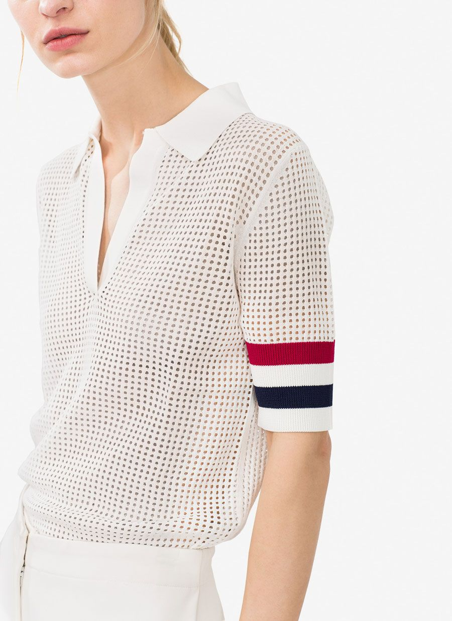 340d25594 Sweater with faux pearl beads in 2019 | KNITs | Polo shirt outfits ...