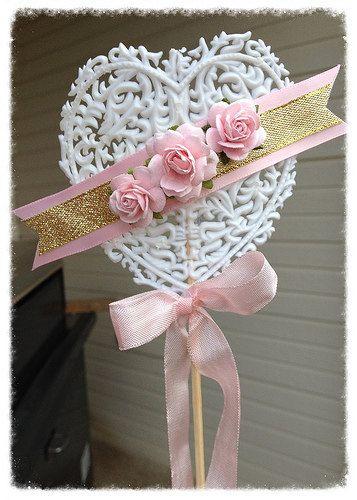 Valentine ornament shabby chic heart wand valentine 39 s by jeanknee birthday party pinterest - Shabby chic wand ...