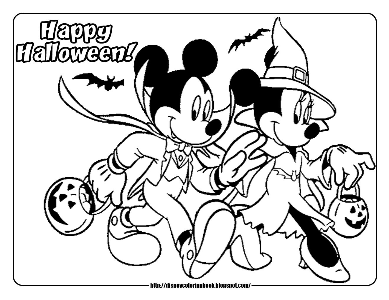 Printable Halloween Coloring Pages Mickey Mouse & Minnie Mouse ...