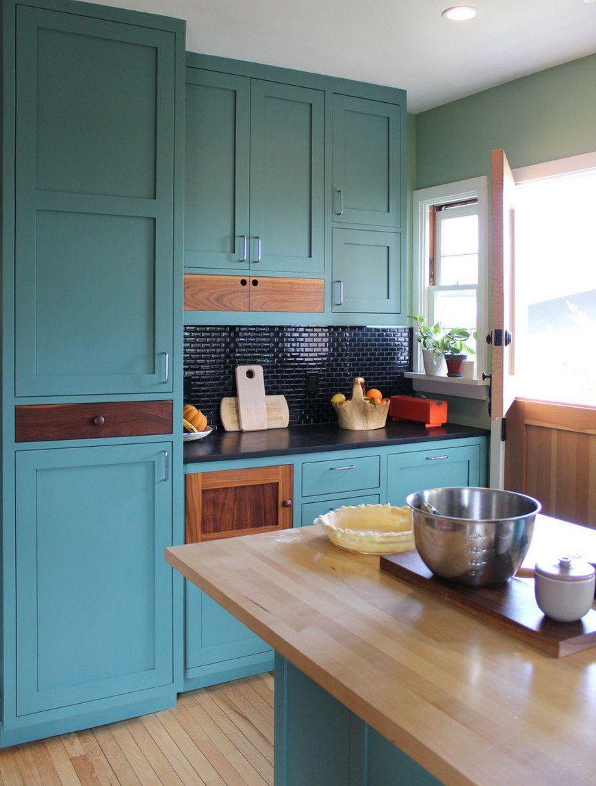 cabinets, backsplash, flooring, butcher block island | kitchen ...