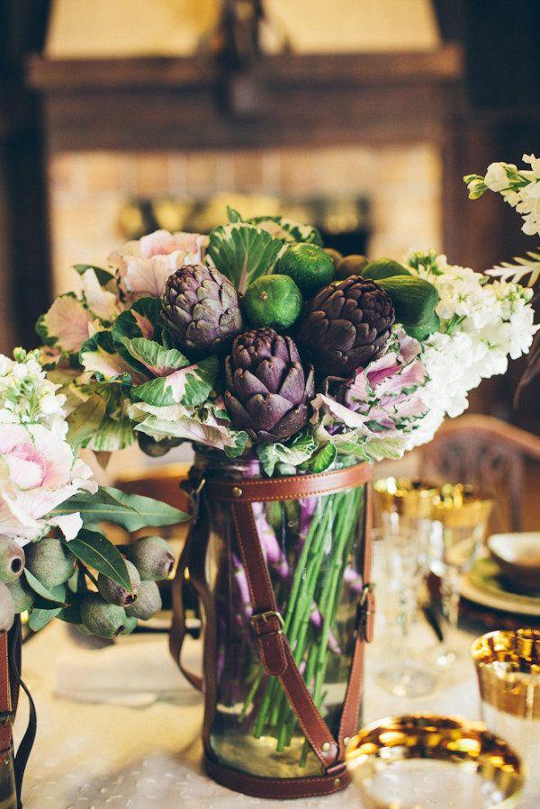Bouquet of artichoke, kale, avocado. Photography by jenniferskog.com, Event Design by jenniferbishopdesign.com, Floral Design by nicoleha.com