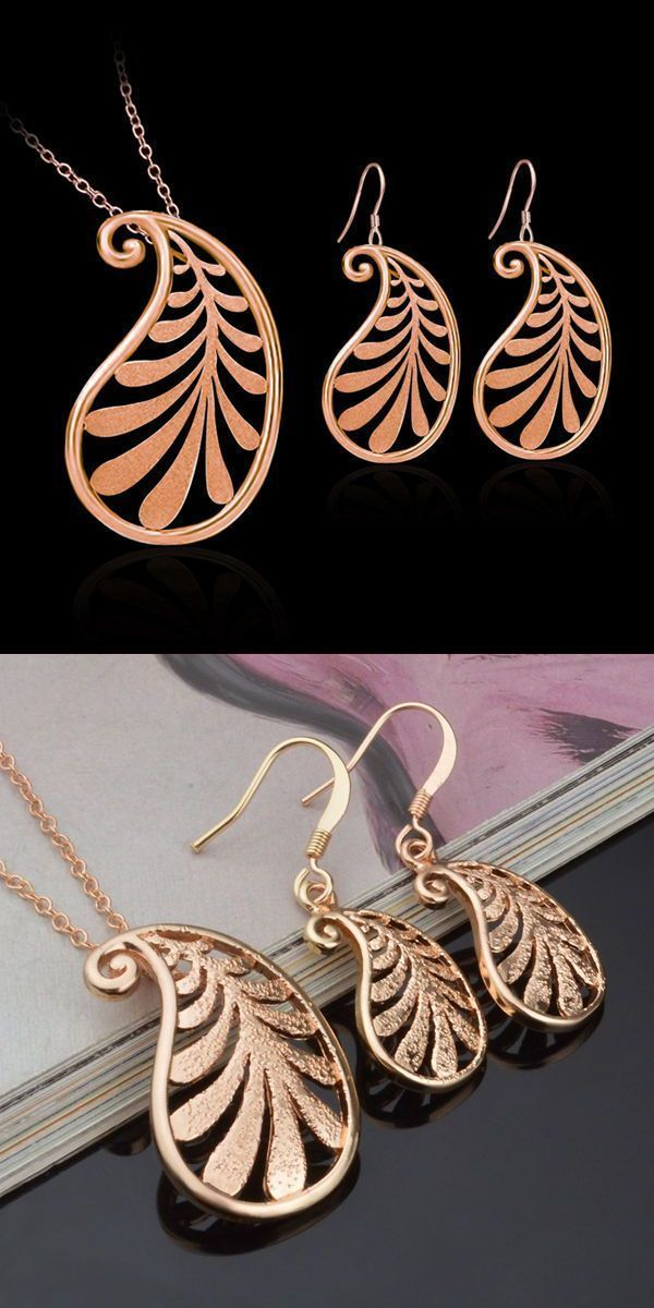 Rose gold plated leaf pendant necklace earrings jewelry set jewelry rose gold plated leaf pendant necklace earrings jewelry set jewelry set boxes wholesale 2 aloadofball Image collections