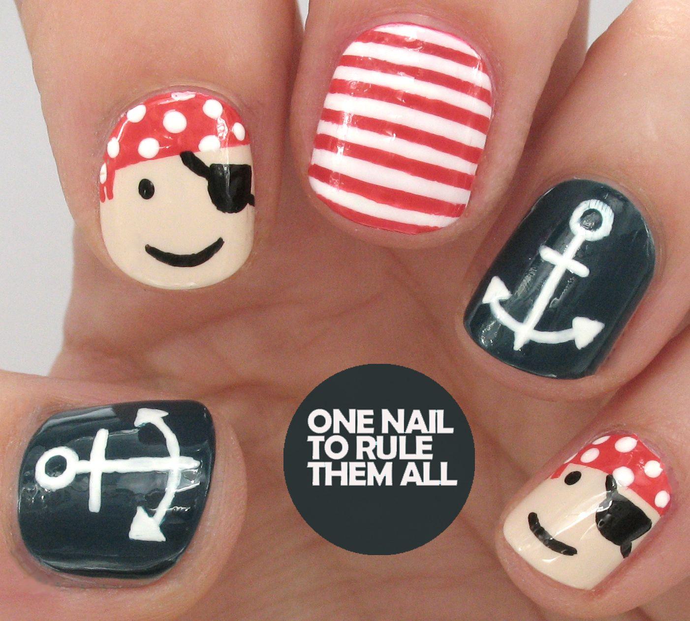 Tutorial tuesday pirate nautical nail art one nail to rule them tutorial tuesday pirate nautical nail art prinsesfo Choice Image