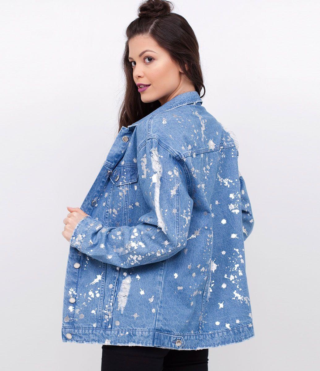 Jaqueta feminina com detalhes metalizados com puídos marca blue