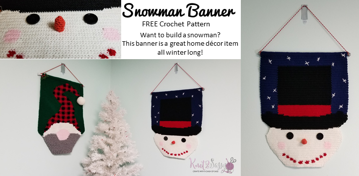 Snowman Banner - Free Crochet Pattern ⋆ Knot 2 Sassy #crochetformoney Snowman Banner - Free Crochet Pattern ⋆ Knot 2 Sassy #crochetformoney