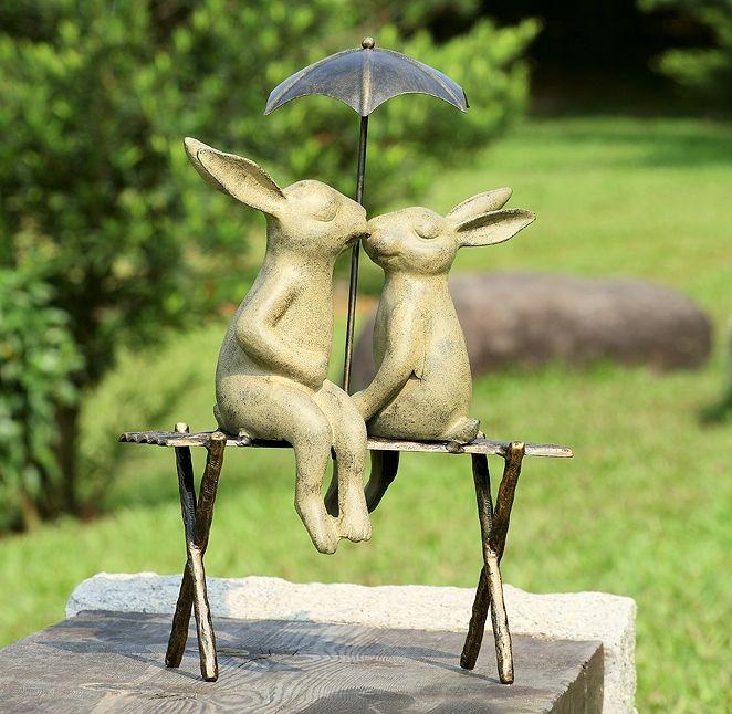 Bunny Lovers On Bench Garden Sculpture Stohans Showcase