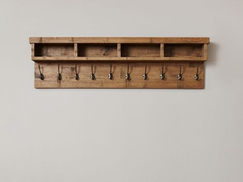 This Wonderful Wall Mounted Coat Rack Consists Of 10 Hooks And Four Storages Spaces To Keep Item Coat Rack Wall Wall Mounted Coat Hanger Wall Mounted Coat Rack