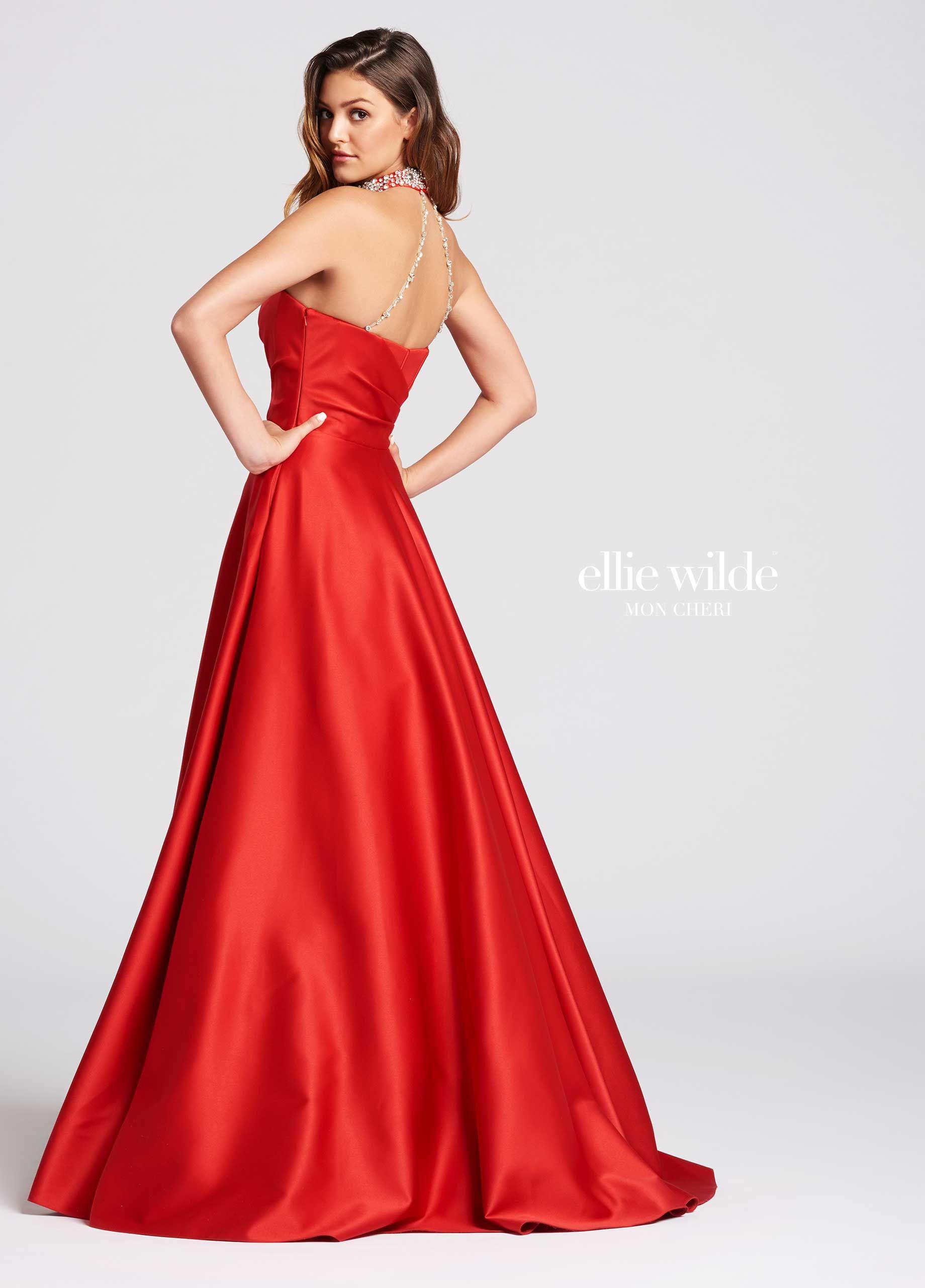 da97858143d596 Strapless Satin A-Line Prom Dress With A Beaded Neckline- EW118020 ...