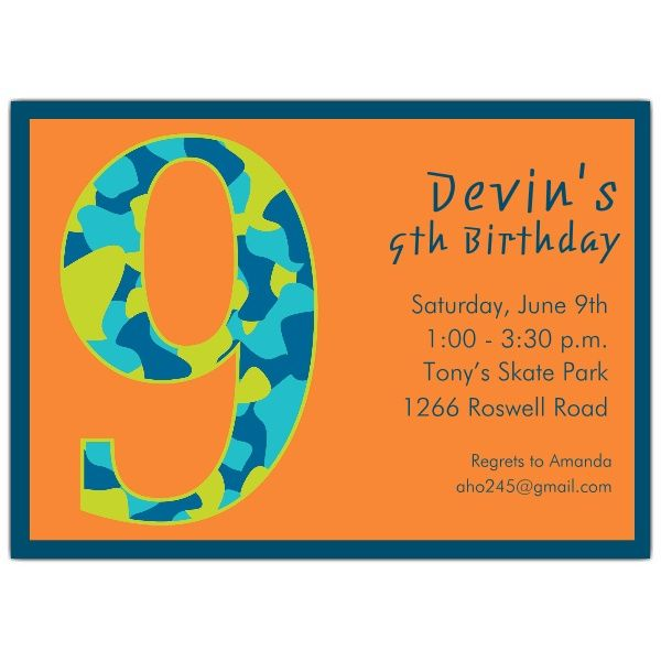 Nice FREE Template 9 Year Old Birthday Invitation Wording