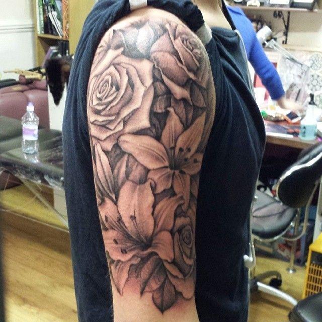 b13f7f7ed Image result for half sleeve lily tattoos | tattoos | Tattoos ...
