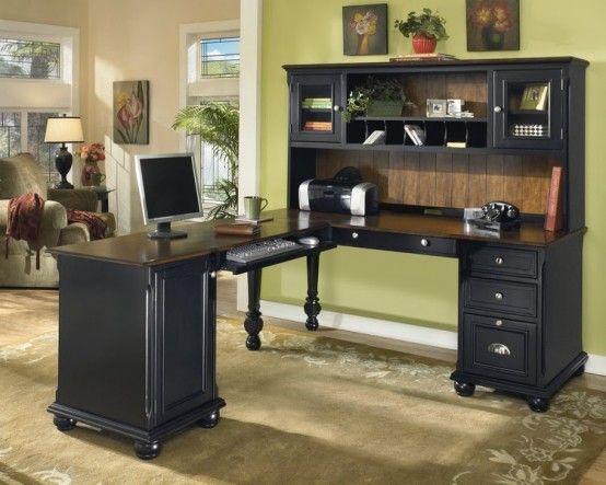 Black Wooden Home Office Desk Ideas