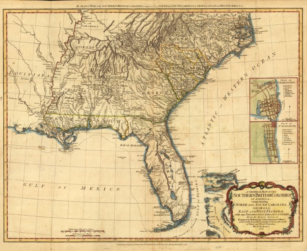 Map of the southern British colonies including Florida in