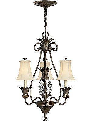 Antique Light Fixtures. Plantation 3 Light Chandelier With Silk Shades