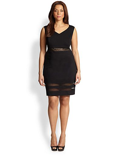 ABS, Sizes 14-24 - Mesh-Inset Dress - Saks.com | Plus Size Dresses ...
