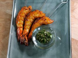 spiced grilled shrimp served with mint chutney - from Bal, the Spice Goddess.  I hate mint so I substitute mango chutney.  YUM!