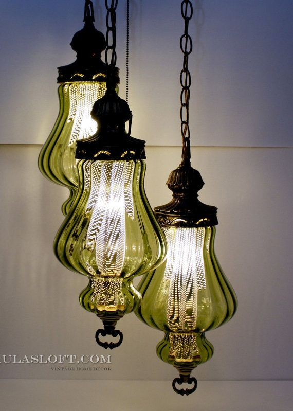 PaulasLoft.com Mid Century Swag Lamp Hanging Light 3 Tier Green By  PaulasLoft