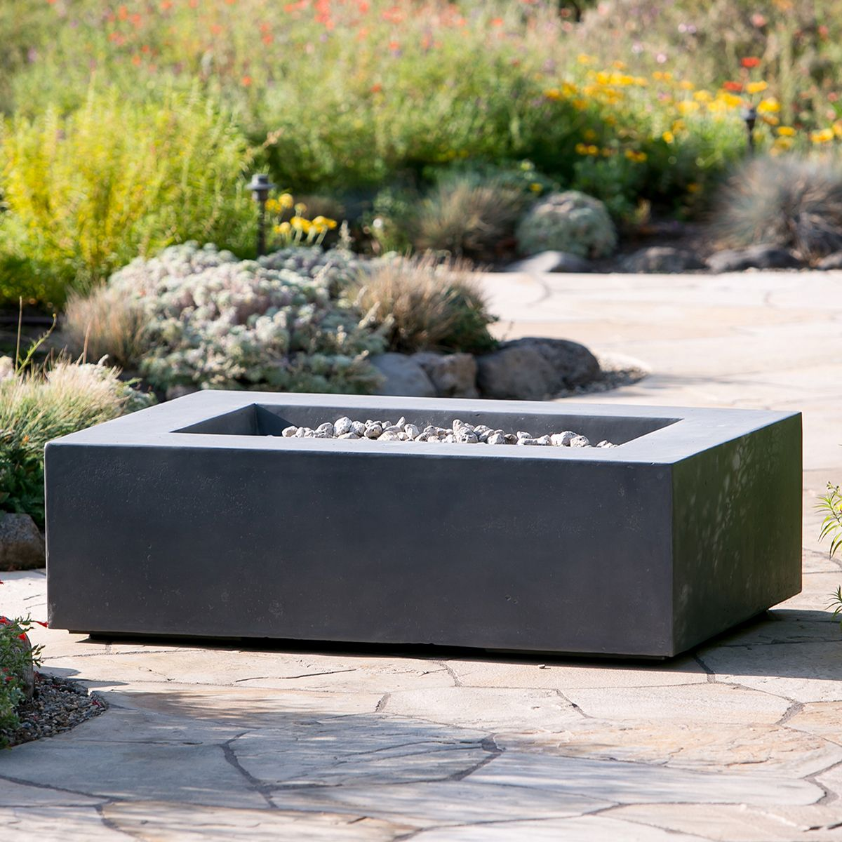 Coronado Rectangular Firepit In Pewter 51 Terra Outdoor Living Fire Pit Essentials Fire Pit Backyard Rustic Fire Pits