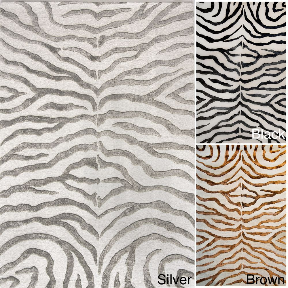 Nuloom New Zealand Faux Silk Zebra Rug 7 6 X 9 Ping Great Deals On 7x9 10x14 Rugs