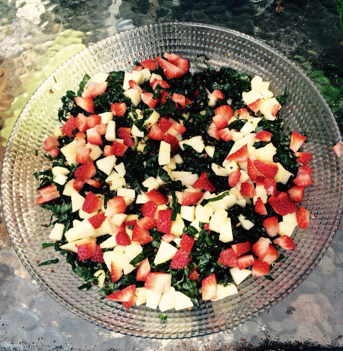 Kale Summer Salad  Apples, strawberries, lemon juice, sea salt  Simple & Delicious.