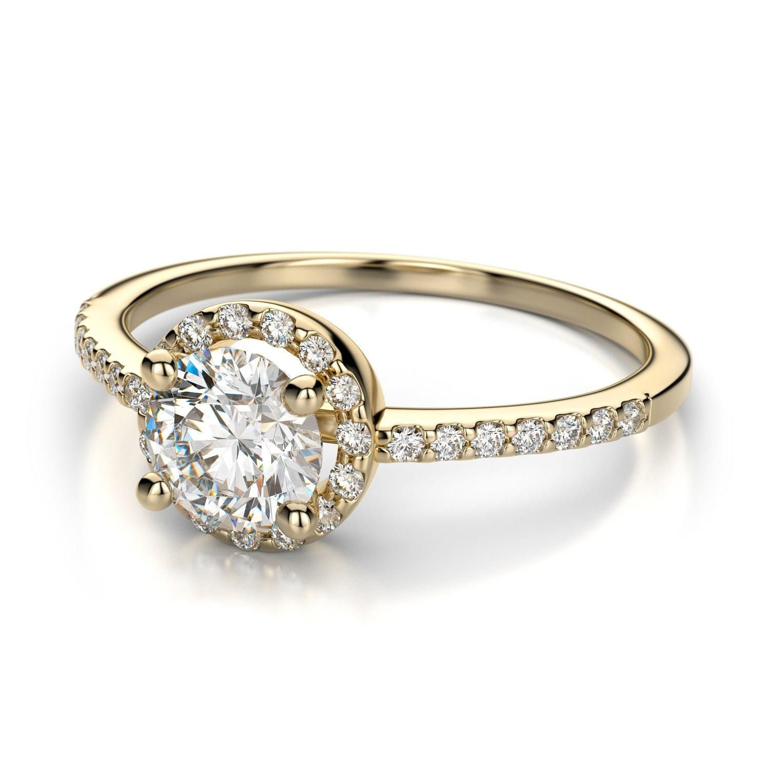 Round Engagement Ring Settings Yellow Gold 20