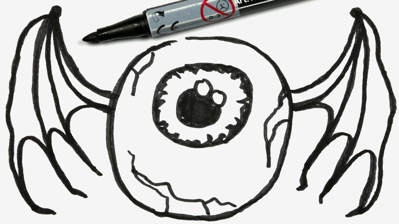 How To Draw A Cartoon Halloween Eyeball With Bat Wings Easy Doodle For Easy Halloween Drawings Cute Easy Drawings Halloween Drawings