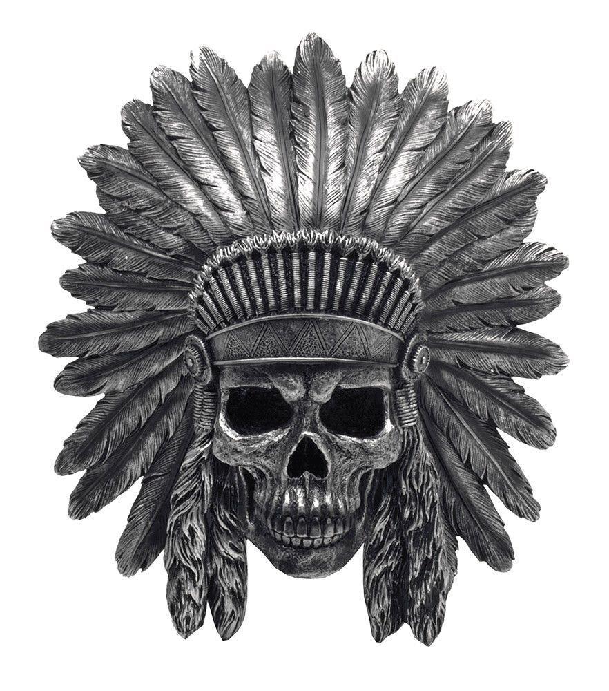 indian chief skull in headdress wall mount shop junkyard