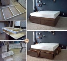 Best 25 beds with storage drawers ideas on pinterest for Pallet platform bed with storage