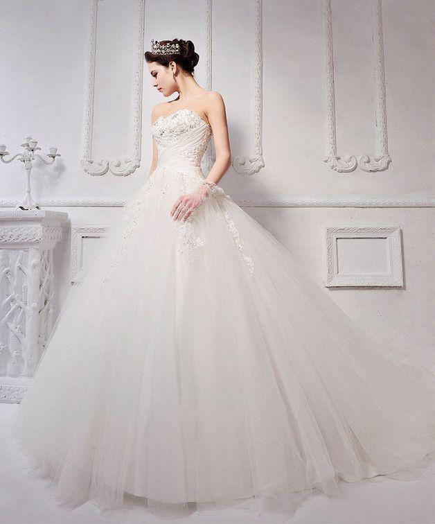 Feierliches Hochzeitskleid Duchesse- / Prinzessin -Stil trägerlos ...
