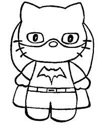 Hello Kitty As Batgirl Printable Coloring Page Kitty Coloring Hello Kitty Coloring Hello Kitty Colouring Pages