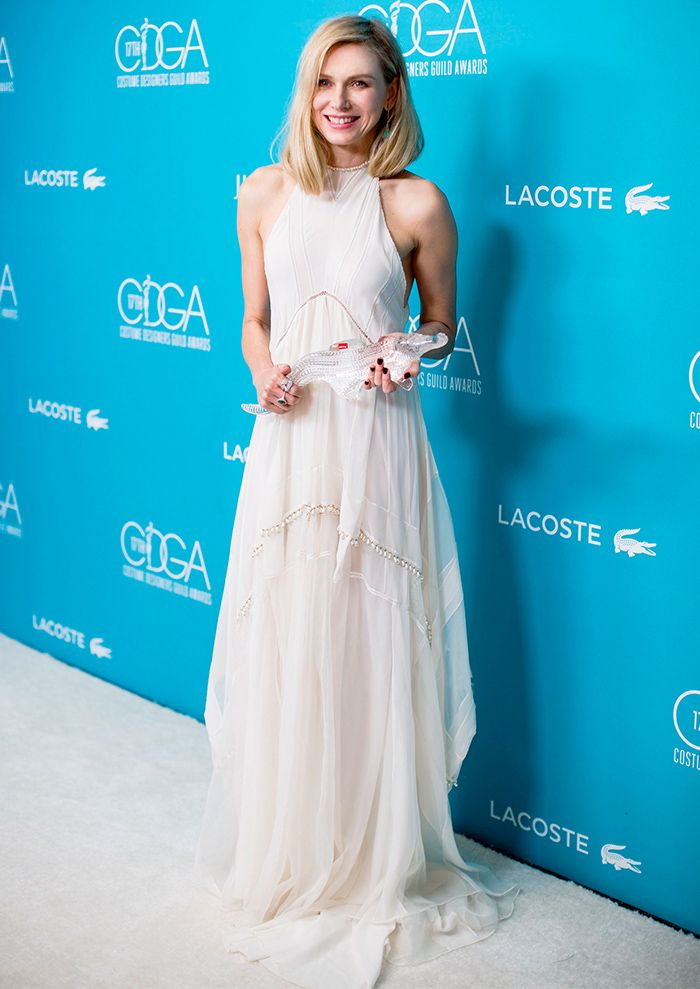 Naomi Watts in an Altuzarra gown and an Irene Neuwirth ring ...